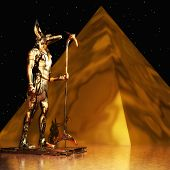 image of anubis  - Digital 3D Illustration of an Anubis Statue - JPG