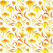 Seamless watercolor pattern with flowers