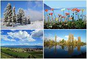 Set of four seasons landscapes