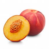 One And Half Red Peach Isolated On White