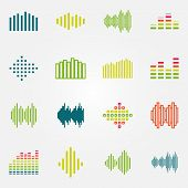 Bright music soundwave or equalizer icons set