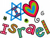I Love Israel Cartoon Doodle Text