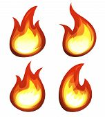 Cartoon Fire And Flames Set