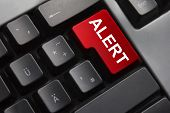 image of explicit  - dark grey keyboard red enter button alert - JPG