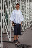 Man Outside Jil Sander Fashion Shows Building For Milan Women's Fashion Week 2014