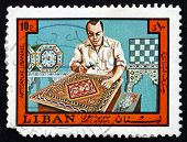 Postage Stamp Lebanon 1973 Inlay Worker