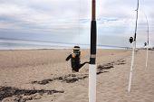 Fishing poles on Cape Cod