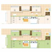 Kitchen Overlooking The Front, In A Flat Layout Design, Two Color Set