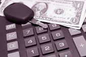 Calculator, Money And Car Key