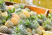 Heap Of Pineapples At Floating Market.