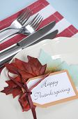 Happy Thanksgiving Dining Table Place Setting In Modern Pale Blue, Red And White Theme With Vintage