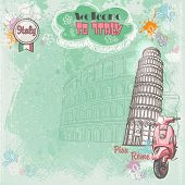 Background of Italy for your text with the image of the Colosseum the Leaning Tower and pink moped