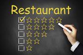 Hand Writing Restaurant On Chalkboard Ranking
