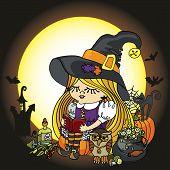 Halloween Witch girl reading book.Moon,pumpkin,cat,boiler