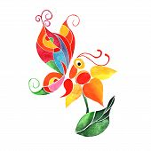 Abstract watercolor butterfly on a flower - vector illustration