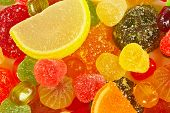 Colorful candies and jelly close up