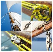 Collage Of Old Sailing Boat Equipment - Vintage Wooden Mast,sails, Ropes, Knots,snatch Cleats