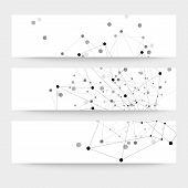 Set of digital backgrounds for communication, molecule structure vector illustration
