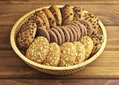 Oatmeal And Chocolate Cookies On The Bamboo Dish