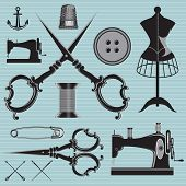 Set Of Items And Equipment To Topics Tailor, Clothing, Repair