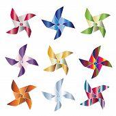 stock photo of school carnival  - Set of 9 shiny colorful pinwheel vectors - JPG
