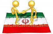Gold Guy Flag Handshake
