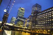LONDON, UK - JUNE 14, 2014: Canary Wharf at dusk, Famous skyscrapers of London's financial district