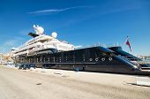 Octopus luxury yacht at Malaga port on April 30 2014.