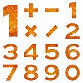 Numbers set, orange lava