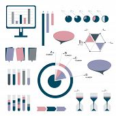 Set of infographic elements. Diagrams, speech bubbles, graphs, pie circle charts and icons. Vector s