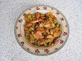 Fried parkia with shrimp and source