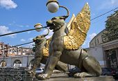 Winged Lions At Bank Bridge In Saint-petersburg