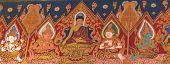 Thai Style Mural Painting In Wat Hualamphong Thailand