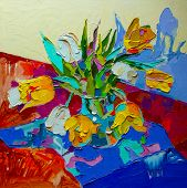 original oil painting, still life with tulip, spring flower.  Mo