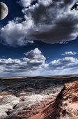 foto of thunderhead  - Desert moon over the southwestern USA desert and mountains - JPG