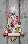 Christmas tree - decoration in shabby chic style - an idea for a greeting card