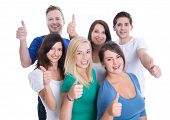 Good team work with happy thumbs up man and woman isolated on white background