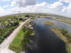 pic of airboat  - Aerial view of Florida Everglades waterway and boat ramp - JPG