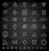 Set of Retro Vintage Hipster Insignias and Logotypes. Business Signs, Logos, Identity Elements, Labels, Badges, Frames, Borders and Other Design Elements. Chalkboard Style.