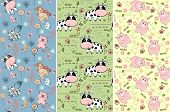 picture of baby pig  - babies hand draw seamless pattern with animals - JPG