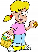 Cartoon girl on an Easter egg hunt.