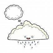 cartoon rain cloud with thought bubble
