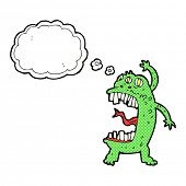 cartoon crazy monster with thought bubble