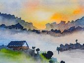 Watercolor Painted Of Mountain Landscape