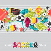 Sports seamless pattern with soccer sticker symbols.