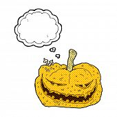 cartoon halloween pumpkin with thought bubble