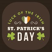 St. Patricks Day Card Design. Vintage Holiday Badge Design. Luck Of The Irish