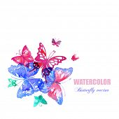 Vector watercolor butterflies. Abstract design  with copy space.
