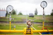 stock photo of air pressure gauge  - Pressure gauges are installed at the station in shale gas production - JPG