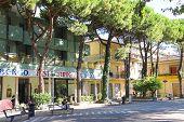People On Piazza Marciano In The Resort Town Bellaria Igea Marina, Rimini, Italy